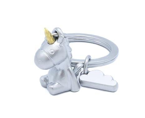 Llavero Unicornio 3D con nube, cuerno de oro, arco iris, llavero, cuentos de hadas, mágico, final mate
