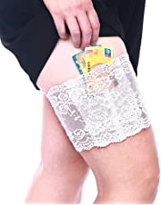 VIEEL Womens Lace Non-Slip Concealed Thigh Holster Thigh Garter with Purse Phone Security Pockets