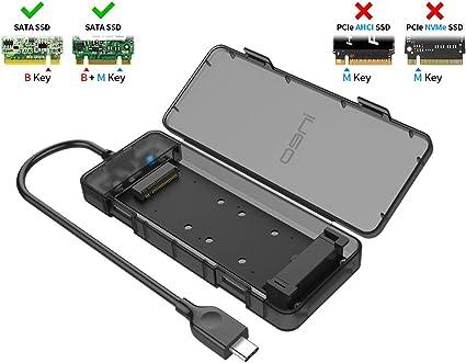 ineo Carcasa USB C 3.1 Gen 2 Type-C Caja Externa M.2 NGFF SSD 2230 ...