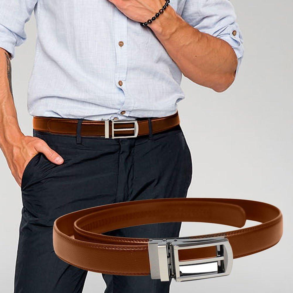 イグザクトベルト 本革 牛革 革 レザー 穴なし ベルト オートロック式 フリーサイズ ビジネス フォーマル カジュアル スーツ 紳士 おしゃれ ブラウン イーチャンス e-chance exact belt leather