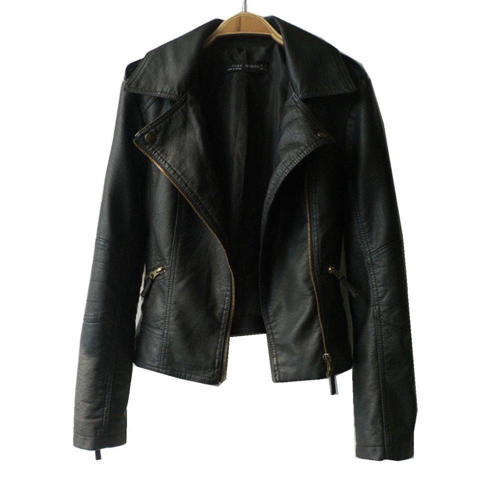 VANGULL Women Ladies Zipper Slim Biker Motorcycle PU Leather Jackets Punk Rock Coats (L, Black)