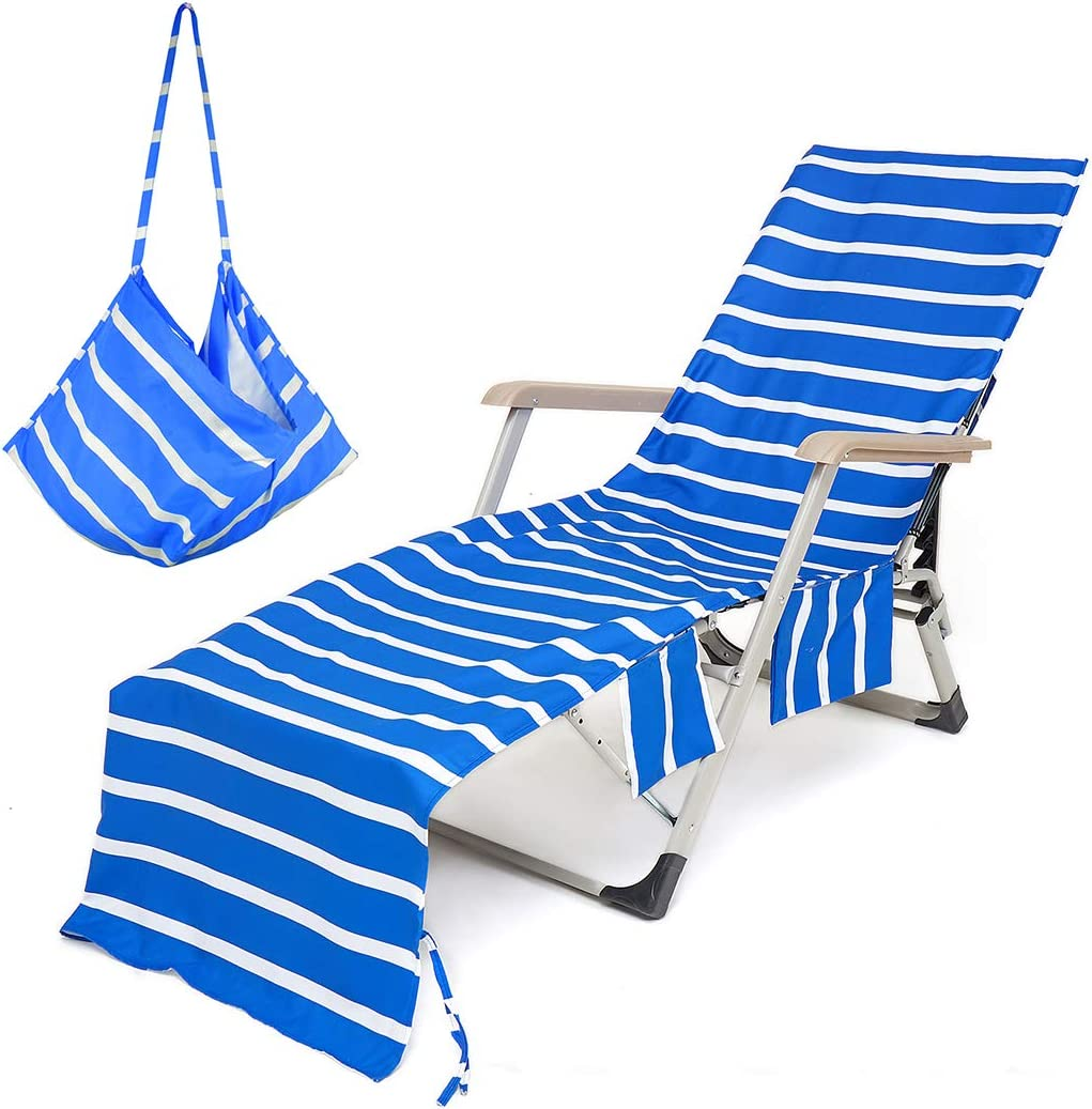 VOCOOL Beach Chair Towel Chaise Lounge Cover with Pockets Pool Chair Towel for Outdoor Patio Garden-Blue