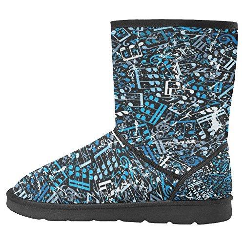 Snow Stivali Da Donna Di Interestprint Scarpe Invernali Uniche Dal Design Esclusivo Blu Note Musicali Multi 1