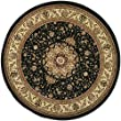 Safavieh Lyndhurst Collection LNH329A Traditional Medallion Black and Ivory Round Area Rug (4\' Diameter)
