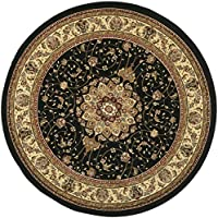 Safavieh Lyndhurst Collection LNH329A Traditional Medallion Black and Ivory Round Area Rug (4 Diameter)