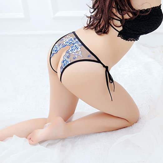 Amazon.com: Vovotrade Women G String Sexy Underwear Lace Thermal Briefs Panties Super Thin Hollow Charming Thongs (Blue): Clothing