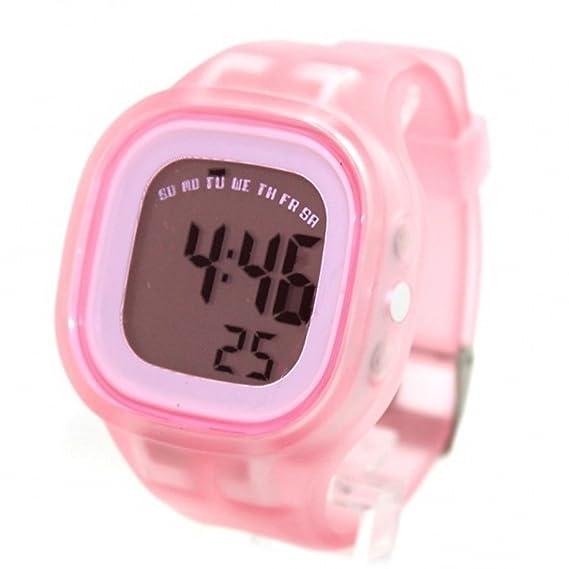 ukdw358 a Cronógrafo Alarma Color blanco bisel niño Niña Reloj digital de banda de silicona), color morado: Amazon.es: Relojes