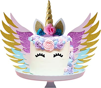 Sunshinetek Unicorn Cake Topper Set With Wings Gold Glitter Unicorn Horn Sparkly Colorful Wings Ears Eyelashes For Party Supplies Birthday Wedding Christmas Amazon Co Uk Toys Games