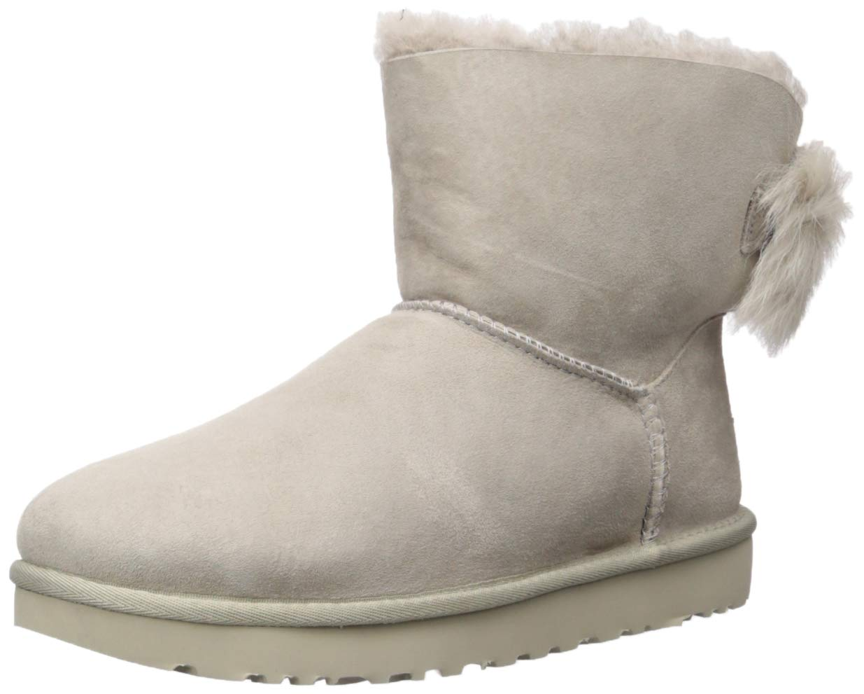 UGG Women's W Fluff Bow Mini Fashion Boot, Willow, 7 M US by UGG