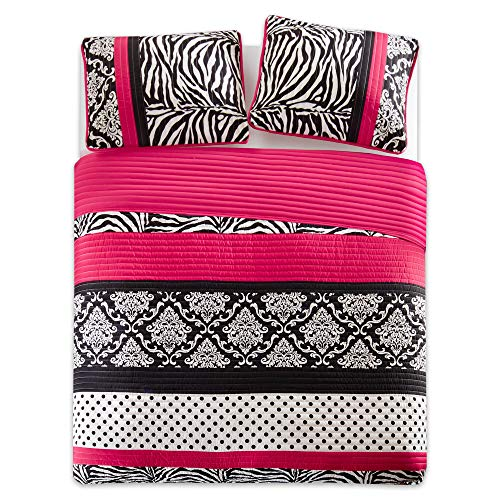 Quilt Set Full/Queen Bedding Set - Sally - Teen Girl 3 Pieces [ Hot Pink/Black Bedding ] Zebra, Damask, Polka Dot Print - Hypoallergenic Soft Microfiber All Season Twin Coverlet by Comfort Spaces