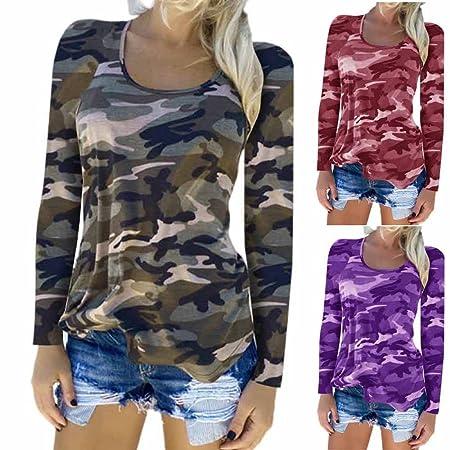 Niña otoño fashion,Sonnena ❤ Camiseta de camuflaje para mujer Tops sueltos ocasionales de manga larga blusa de moda: Amazon.es: Hogar