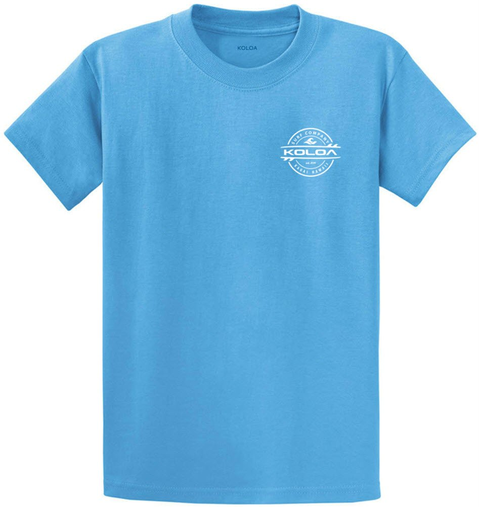 Joe's USA Koloa Surf 2-Sided Thruster Logo Heavy Cotton T-Shirt-Aquatic/w-S