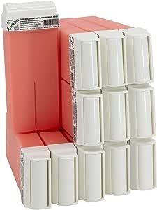 Epilwax 12 Cartuchos Roll-On de Cera Depilatoria Tibia Cera roll on de 100 ml de Cera profesional Rosa de alta calidad para Depilación con Bandas Depilatorias des las piernas, axilas, y el cuerpo