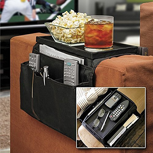 [Sofa Armrest Organizer with Cup Holder Tray 6 Pockets TV Remote Control Organizer Sofa Couch Armchair Caddy Organizer Tidy Pocket Hanging Storage Bag Holder for Cellphone Magazine Drinks Snacks Black] (Bamboo Living Room Folding Chair)