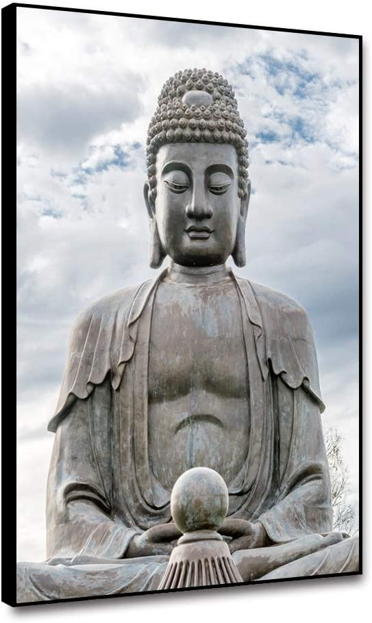 shensu Buddha Statue for Home Decor, Canvas Wall Framed Art Buddhist Stone Sitting Statue Zen Prints Poster Wall Decor Artwork for Meditation Altar,Living Room Bedroom Bathroom Decoration 8x10inch