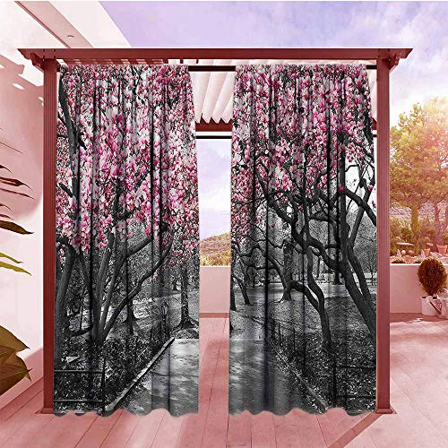 Balcony Curtains NYC Decor Collection Blossoms in Central Park Cherry Bloom Trees Forest Spring Springtime Landscape Picture Rod Pocket Curtain Panels W108x84L Pink Gray (Balcony Nyc With Hotel)