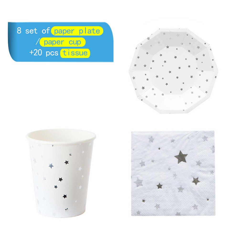 NUOLUX 36pcs Disposable Party Tableware Eco-Friendly Plates Dishes Cups Napkins for Party (Silver Foil Stars)