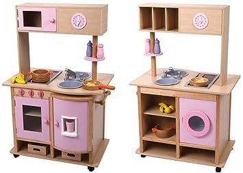 Aufbau Kühlschrank Zubehör : Edle große spielküche küche aus holz beidseitig mit rollen und viel
