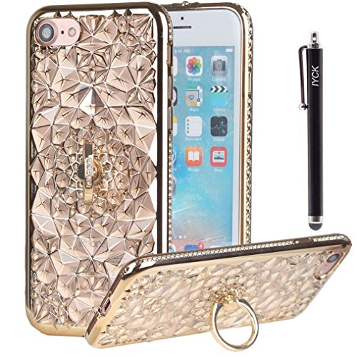 iPhone 8 Case, iPhone 7 Case, iYCK [Crystal Flower] Soft Flexible TPU Rubber Diamond Bling Glitter Protective Case Cover for iPhone 7/iPhone 8 4.7inch with Rotating Ring Stand Kickstand - Gold