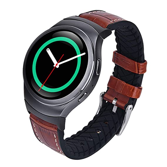 V-MORO Compatible Gear S2 Bands, Soft Crocodile Pattern Leather with Silicone Hybrid Gear S2 Sport Band Sweatproof Strap Replacement Samsung Gear S2 ...