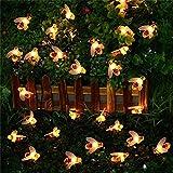 Tuscom Solar Powered Waterproof Fairy Bee Shape String Lights, 15Ft 30 Led for Xmas Window Bathroom Wedding Festival Holiday Decor (Warm White)