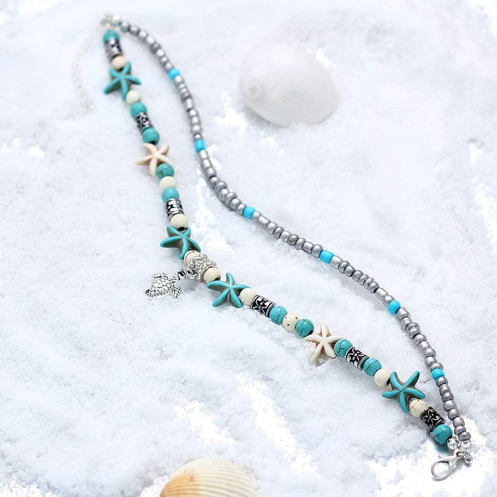 Beaums Women Bohemian Multiple Layers Starfish Turtle Beads Anklets Layers Starfish Foot Beach Jewelry Foot Chain Bracelet