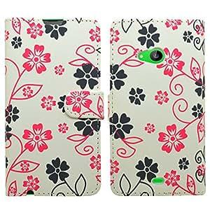 Samrick Especialmente Diseño Florales Maletín Abatible De Cuero Con Protector De Pantalla & Paño De Microfibra & Blanco Mini Lápiz Capacitivo Alta Para Nokia Lumia 535 - Blanco Rosa (White Pink)