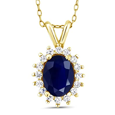 Amazon 14k yellow gold oval blue sapphire pendant necklace 14k yellow gold oval blue sapphire pendant necklace 203 cttw with 18 inch chain aloadofball Image collections