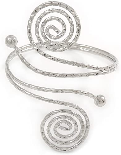 Armlet Bracelet In Rhodium Plating with Hammered Egyptian Style Swirl Upper Arm