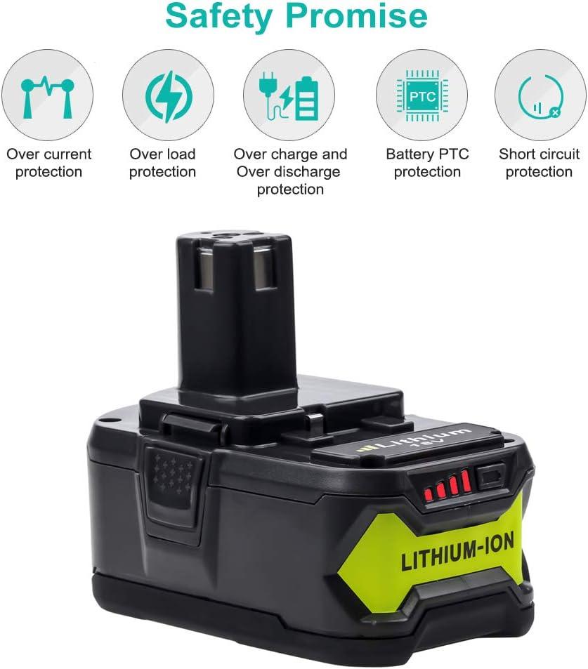 RB18L50 RB18L40 RB18L25 P108 P107 P122 P104 P105 P102 P103 avec indicateur LED 2X 18V 5500mAh Li-Ion Batterie de remplacement pour Ryobi ONE