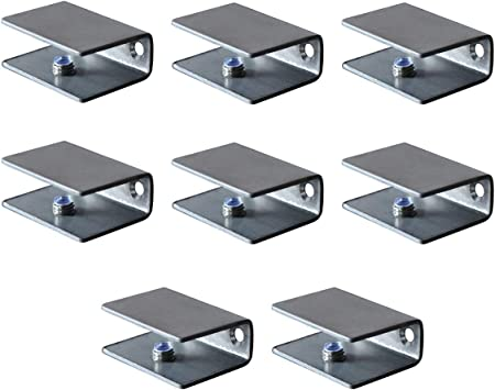Amazon Com Stainless Steel Brackets Shelf Clips Metal Clamps Brushed Finish Wall Mounted Adjustable 10 12mm For Glass Acrylic Wood Set Of 8 Home Improvement
