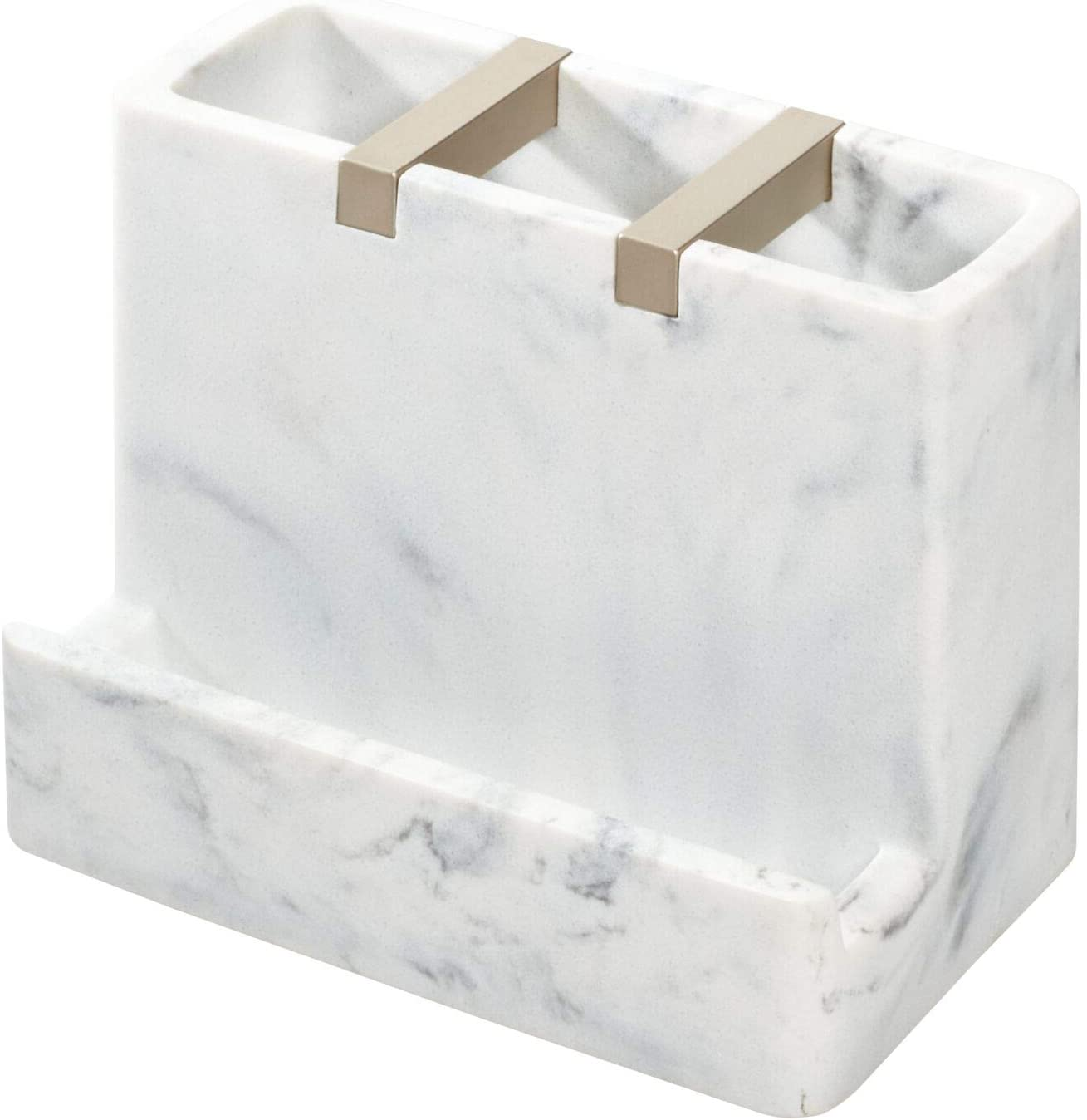 Amazon Com Idesign 28250 Dakota Resin Marble Vanity Center For Toothbrush Cell Phone Bathroom Countertops Desks Vanities Dorm Office White Marble And Satin Metal Accents Home Kitchen