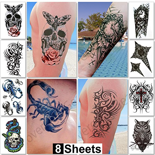 Large Temporary Tattoos for Guys for Men & Teens Fake Tattoo Stickers (8 Sheets) Biker Tattoos, Rocker Transfers for Arms Shoulders Chest & Back - Boys Tattoos Body Art Tattoo (Pirate Makeup For Guys)
