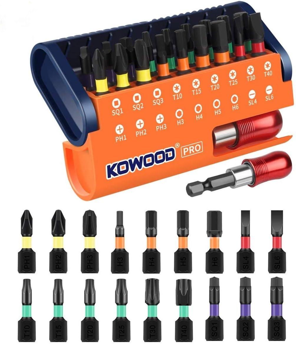 KOWOOD PRO Torsion Screwdriver Bit Set, 19 Pcs Torsion Bits Set, Magnetic Quick-Change Adaptor for Driller in Portable Case.