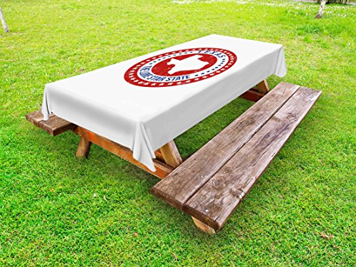 Cheap  Lunarable Texas Outdoor Tablecloth, Worn Looking Circular Frame with The Lone Star..