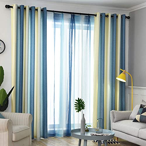 Room Darkening Gradient Curtain Panels Ombre Blue Blackout Curtains Thermal Insulated Faux Linen Window Drape