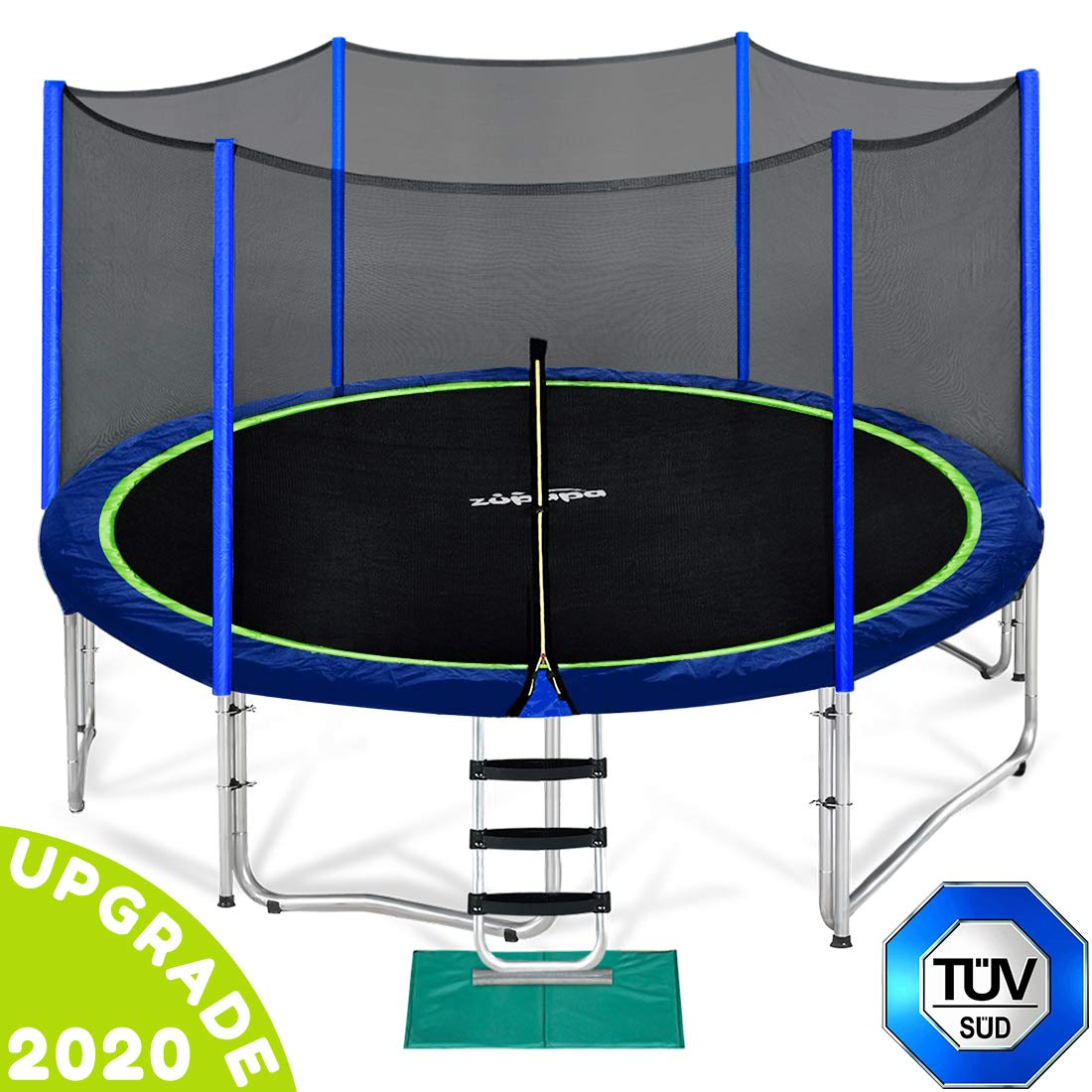 Zupapa 15 14 12 FT TUV Approved Trampoline with Enclosure net and Poles Safety Pad Ladder Jumping Mat Rain Cover Blue
