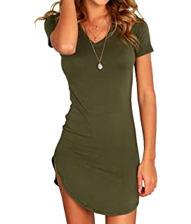 9b73e28e86a2 Karlywindow Women s Bodycon Dress Sexy Tight Irregular Hem Short Sleeve  Mini T Shirt Dress