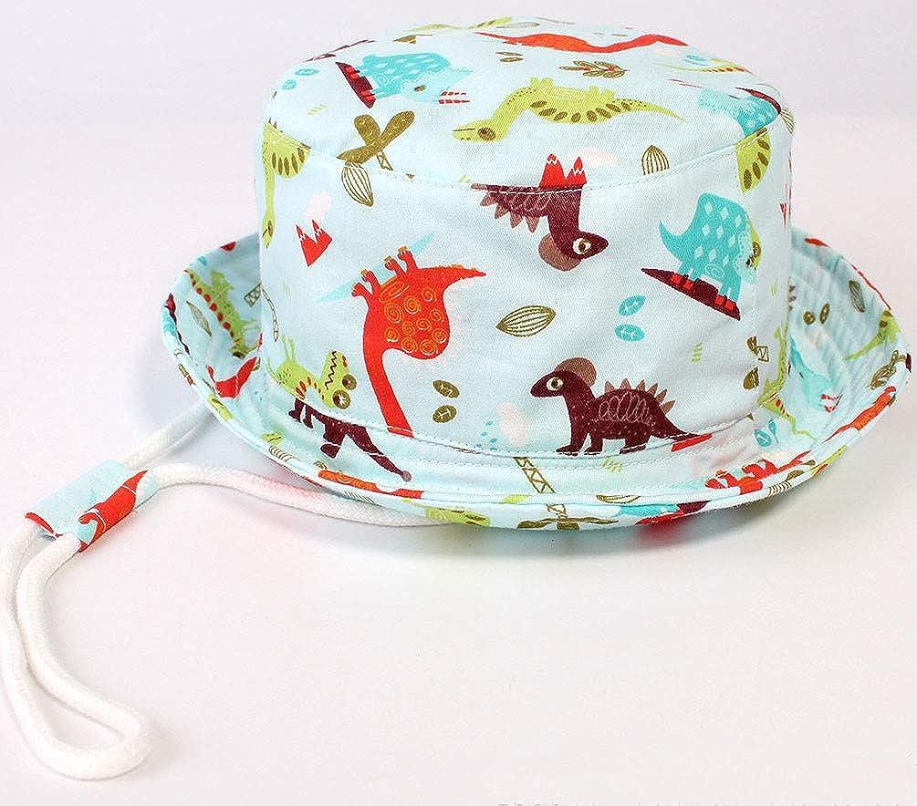 TAGOWELL Unisex Toddler Summer Baby Dinosaur Bucket Hat Sun Cap with Chin Strap