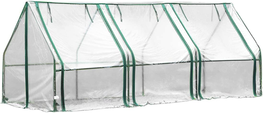 Quictent Waterproof UV Protected Reinforced Mini Cloche Greenhouse 95 WX 36 D X 36 71 WX 36 D X 36 H Portable Green Hot House- 50 Pcs T-Type Plant Tags Include 95 X 36 X 36