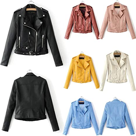 JESPER Women Faux Leather Short Jacket Bomber Motorcycle Biker Studded Decor Lapel Casual Coat for Spring and Fall Yellow