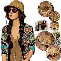 okokmall US -- Boho Lady Panamá colorido rayas mujer plegable sombrero de paja playa sol de verano LC