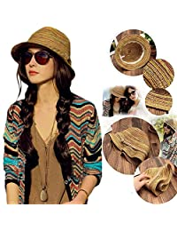 OKOKMALL US-Boho Lady Panama Colorful Women Striped Foldable Straw Hat Beach Summer Sun LC