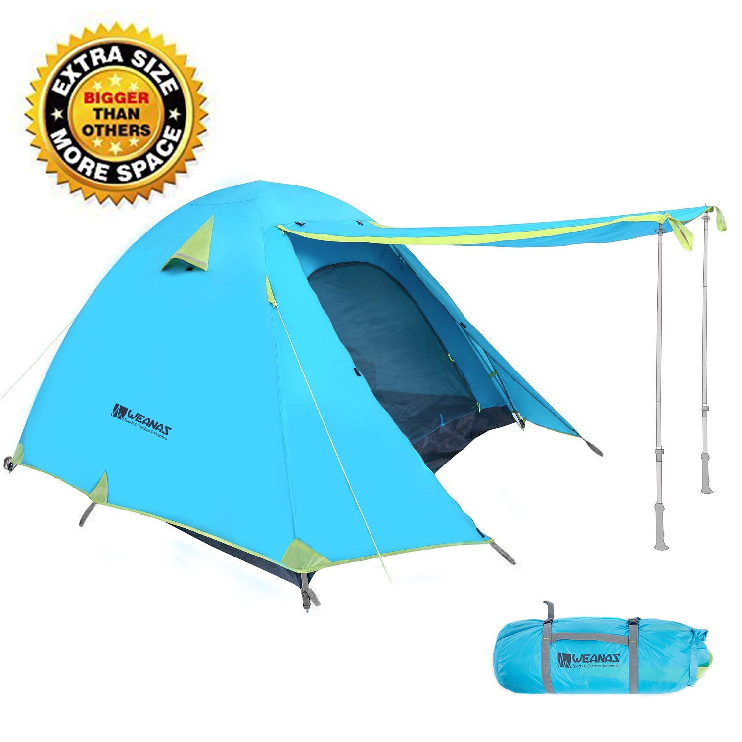 Weanas Professional Backpacking Tent 2 3 4 Person 3 Season Weatherproof Double Layer Large Space Aluminum Rod for Outdoor Family Camping Hunting Hiking Adventure Travel (Extra Size Azure, 1-2 Person) by Weanas