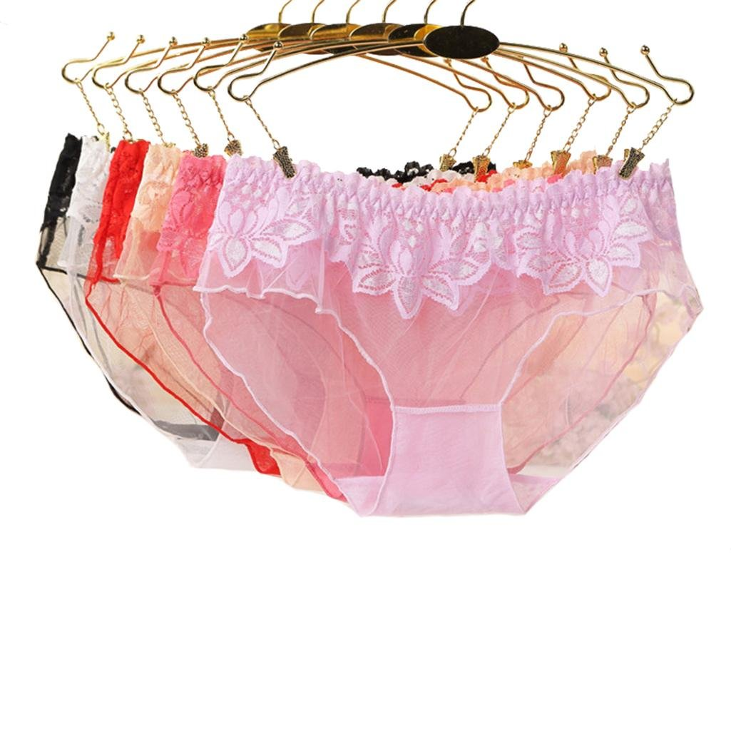Women's Underwear Net Yarn Transparent Low-Waist Pants Ultra-Thin Perspective Lace Underwear 6 Pieces Packaging (One Size) , a , m by moxin