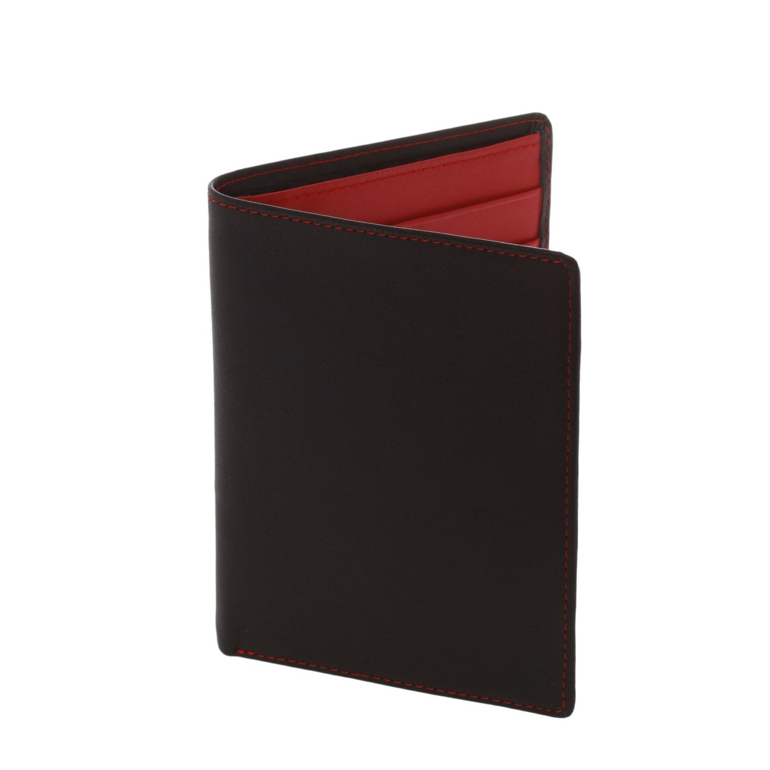 Royce Leather RFID Blocking Passport Currency Wallet Black/Red