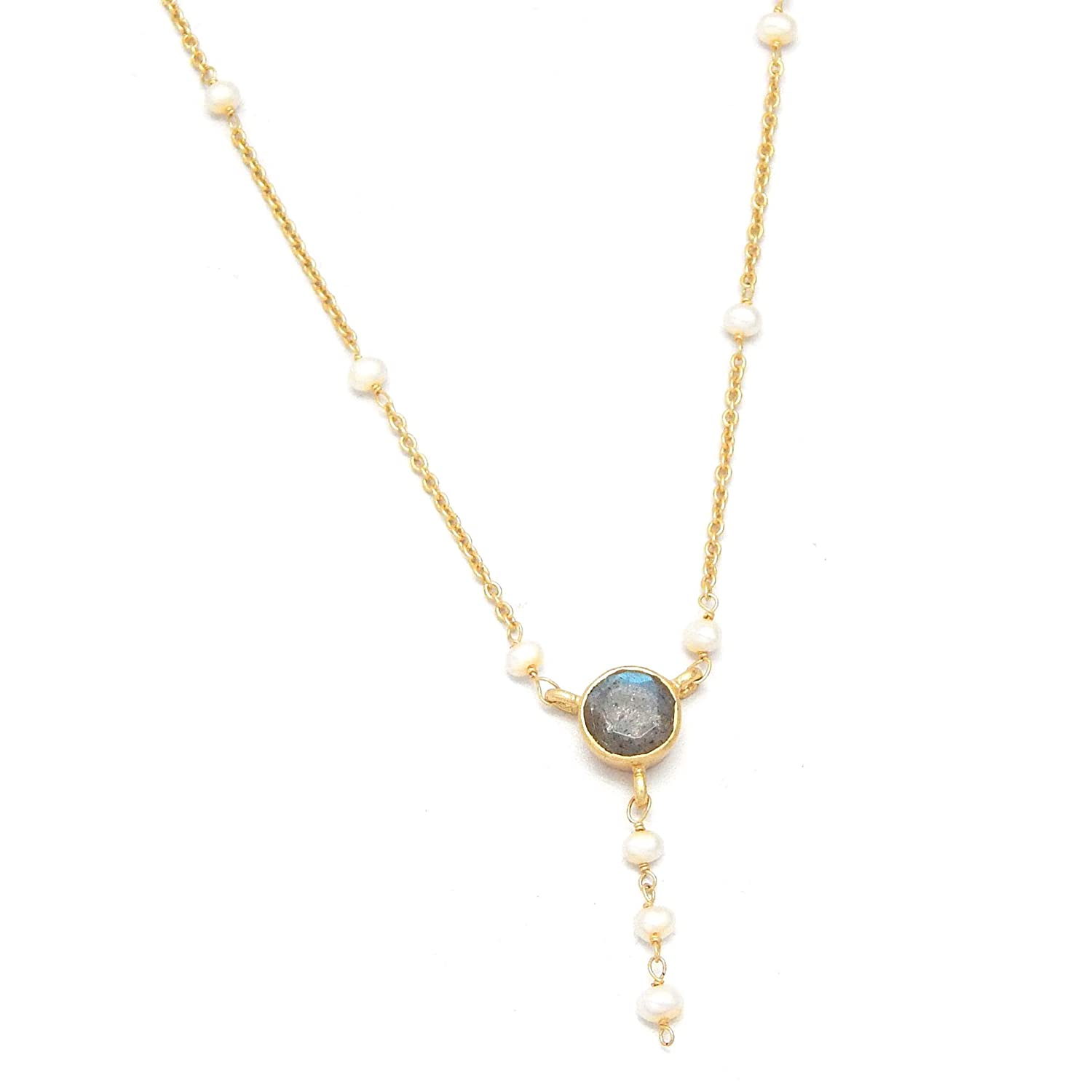 V Collection The Pendant Necklaces Yellow Gold Plated Labradorite and Pearl Beads Chain Necklaces Gifts for her