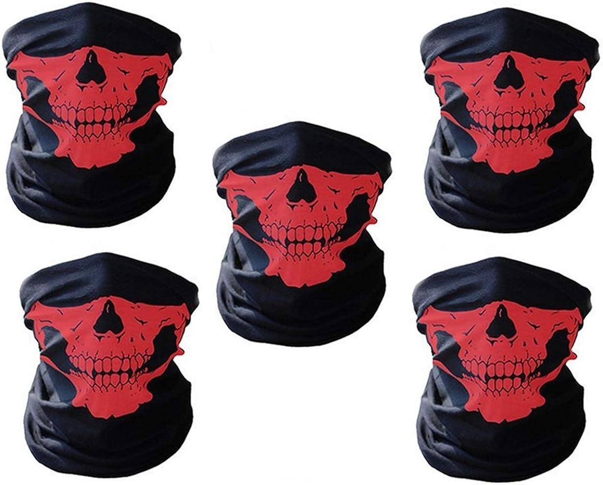 5 Piezas Bufanda Tipo Tubo Multifuncional de Motocicleta Mascarillas de Calavera,Tubo Máscara Facial para Hacer Yoga, Senderismo, Montar a Caballo, Montar en Moto.
