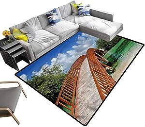 Landscape, Faux Area Rug Wooden Bridge Arc Design Kids Carpet Extra Large Suitable for Children Nursery, 7'x 7'