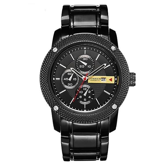 Curren Reloj de pulsera de cuarzo para hombre, sumergible, correa de acero inoxidable, con fecha: Amazon.es: Relojes